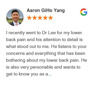 Aaron Giho Yang Google review for Active Family Wellness