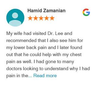 Hamid Zamanian Google review for Active Family Wellness
